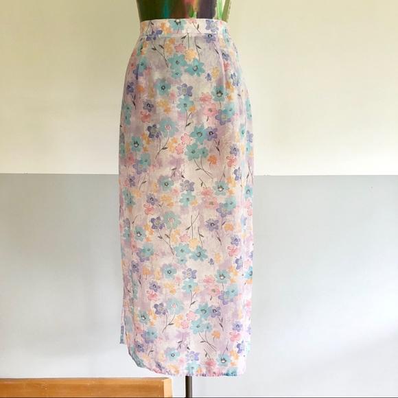 d38221a1f Vintage Skirts | 90s Pastel Floral Midi Skirt | Poshmark